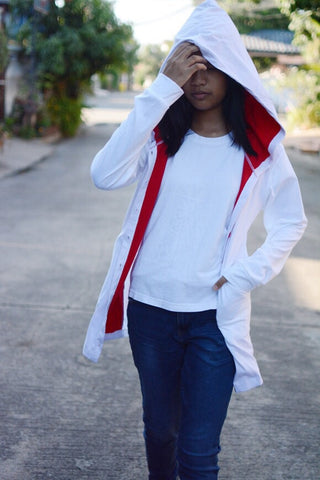 White and red long t shirt hoodie with button jacket long sleeve