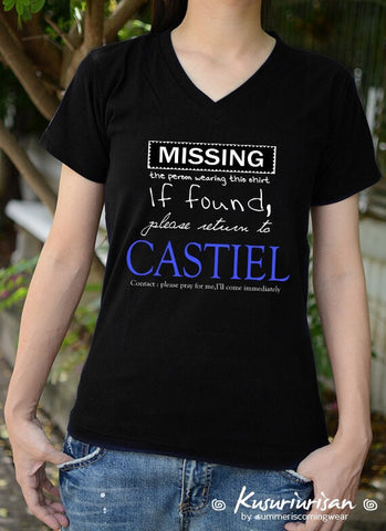 MISSING the person wearing this shirt, if found please return to Castiel t-shirt short sleeve