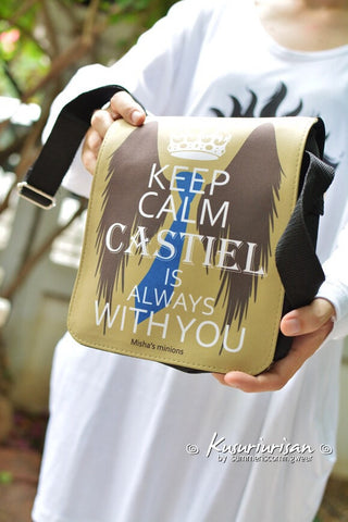 Keep Calm Castiel is always with you-Misha's minions Messenger Bag