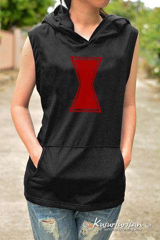 Black widow inspired t-shirt hoodie sleeveless