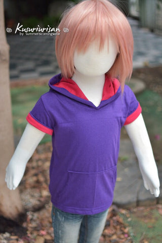 Purple and pink t-shirt hoodie short sleeve KIDS size