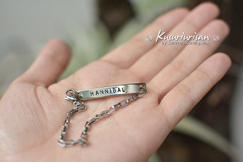 HANNIBAL 7mm hand stamped Bracelet Cuff with small chain