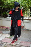 Black and red light weight over coat long hoodie-- can choose color
