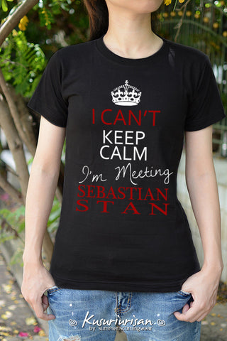 I can't keep calm I'm meeting Sebastian Stan Ver2 t shirt short sleeve t-shirt short sleeve