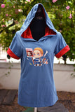 Captain America chibi finding Bucky hoodie blue grey and red short sleeves