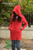 Red riding hood t shirt hoodie with button jacket long sleeve