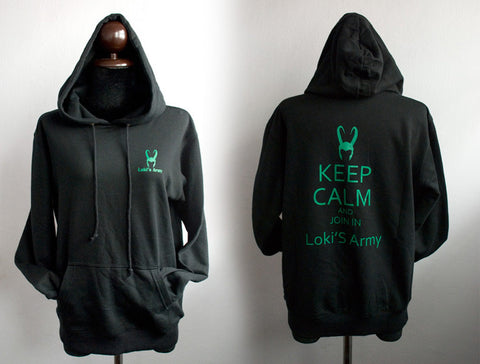 small Loki's army with keep calm and join in Loki's army on Hoodie sweatshirt Long Sleeve