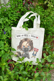 Who the hell is Bucky on canvas tote bag illustrat: by Kadeart