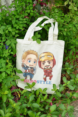 Chibi Tony taught Steve to dance on canvas tote bag illustrat: by Kadeart