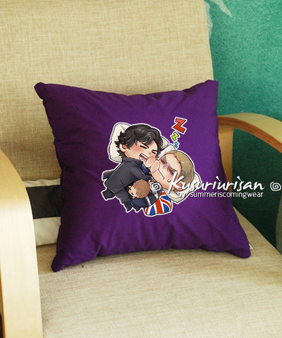 Sherlock and John sleeping cushions cover 16x16 inches