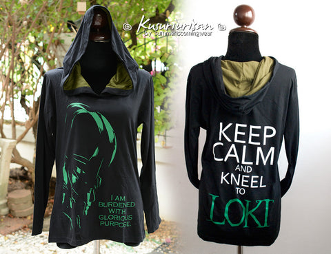 Loki black and olive green hoodie Loki highlight with quote I am burdened and keep calm and kneel to Loki long sleeve