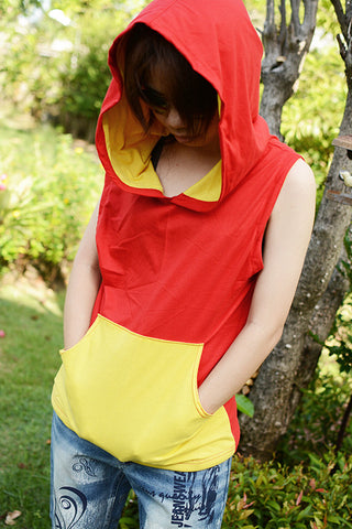 Red and yellow pocket t-shirt Hoodie Cotton sleeveless
