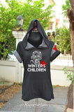 Chibi Bucky Winter's Children black t-shirt hoodie with red star on dark gray left shoulder short sleeves