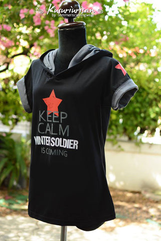 Keep calm Winter Soldier is coming on black t-shirt with red star hoodie short sleeve
