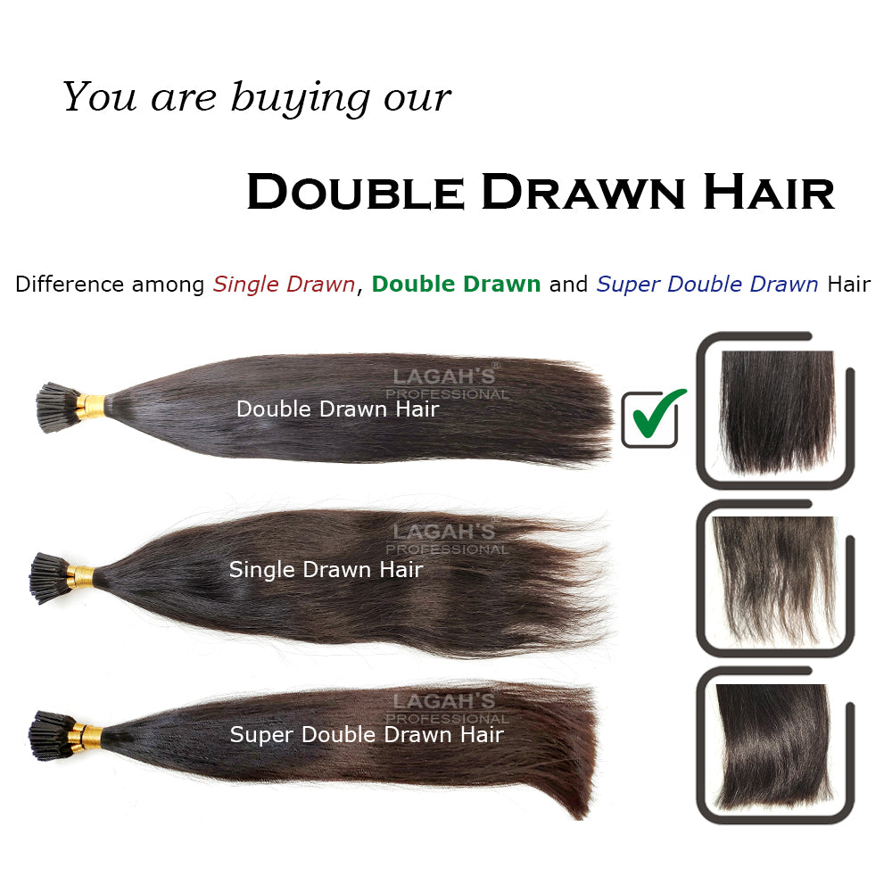 difference among single drawn, double draw and super double drawn human hair extensions
