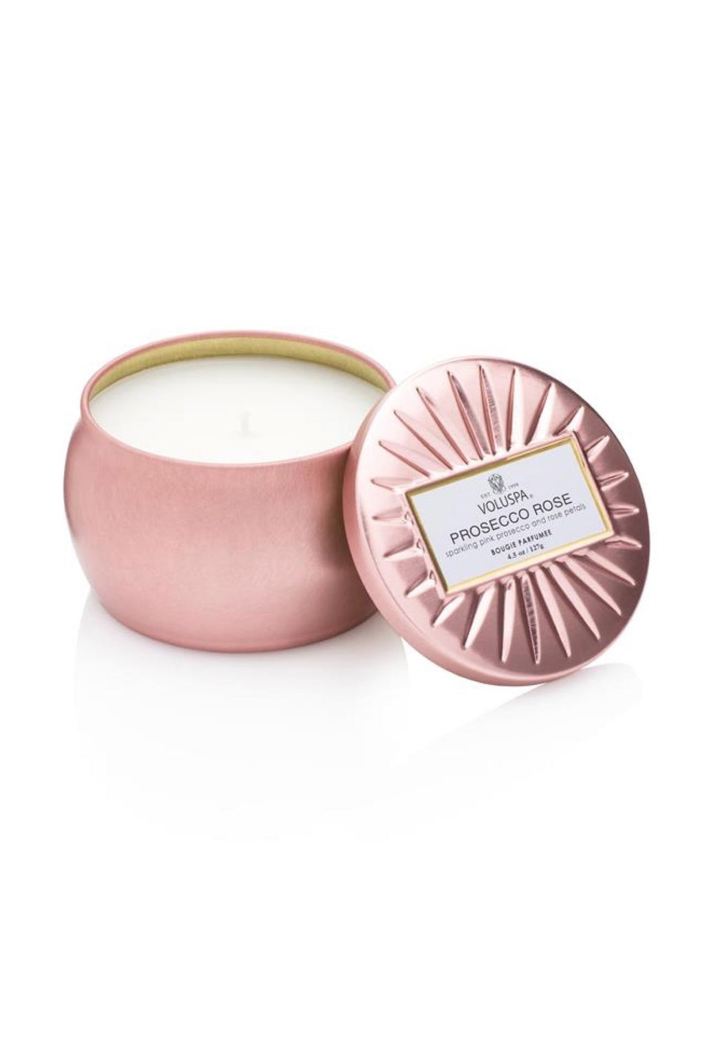 Voluspa Dec Tin Candle 25tim Prosecco Rose