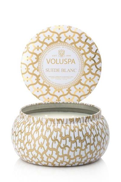 Voluspa 2-Wick in Tin 50tim Suede Blanc