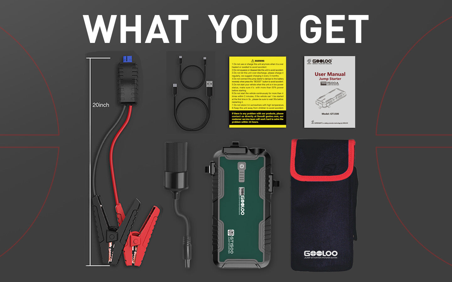 GOOLOO Kit  jump start cable Use Type-C