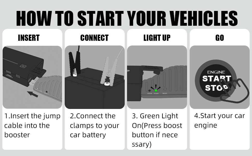 how to start your vehicles,insert the jump cable into the booster,connect the clamps to your car battery,green light on,start your car engine.