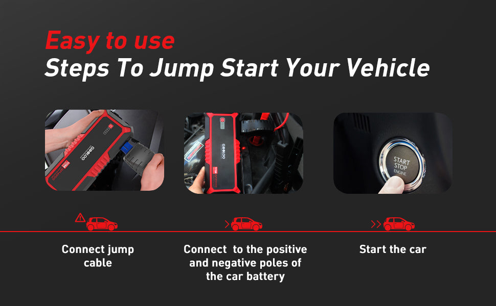 easy to jump start vehicle connect jump cable car battery GOOLOO star car
