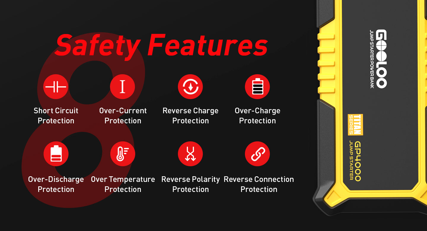 safety features short circuit protection over-current reverse charge temperature GOOLOO
