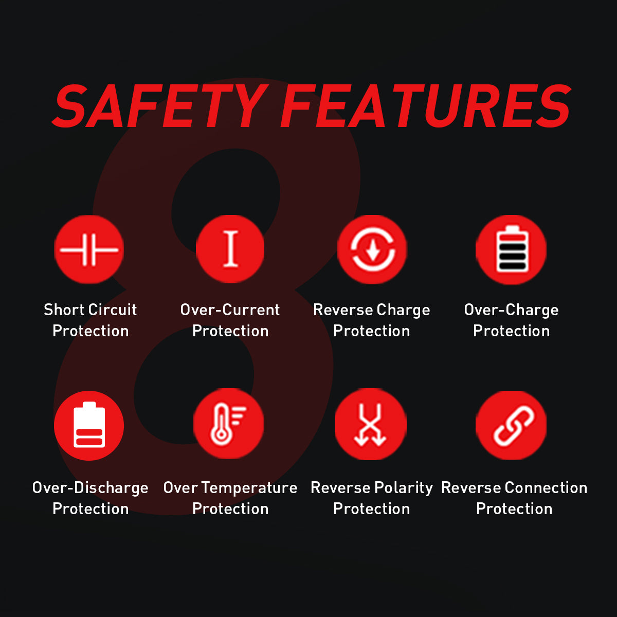 safety features short circuit protection over-current reverse charge temperature