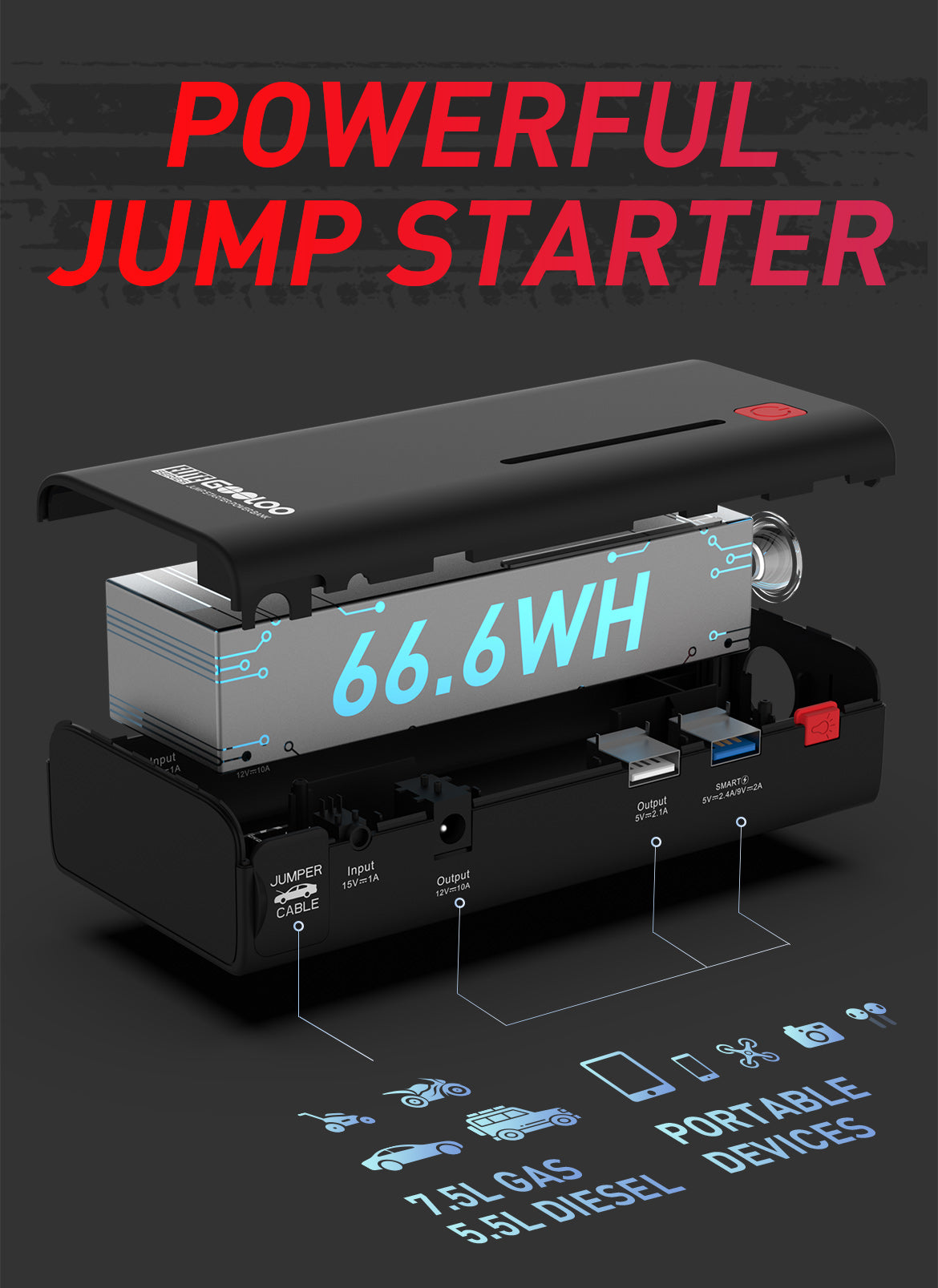 powerful car jump starter car booster portable devices GOOLOO