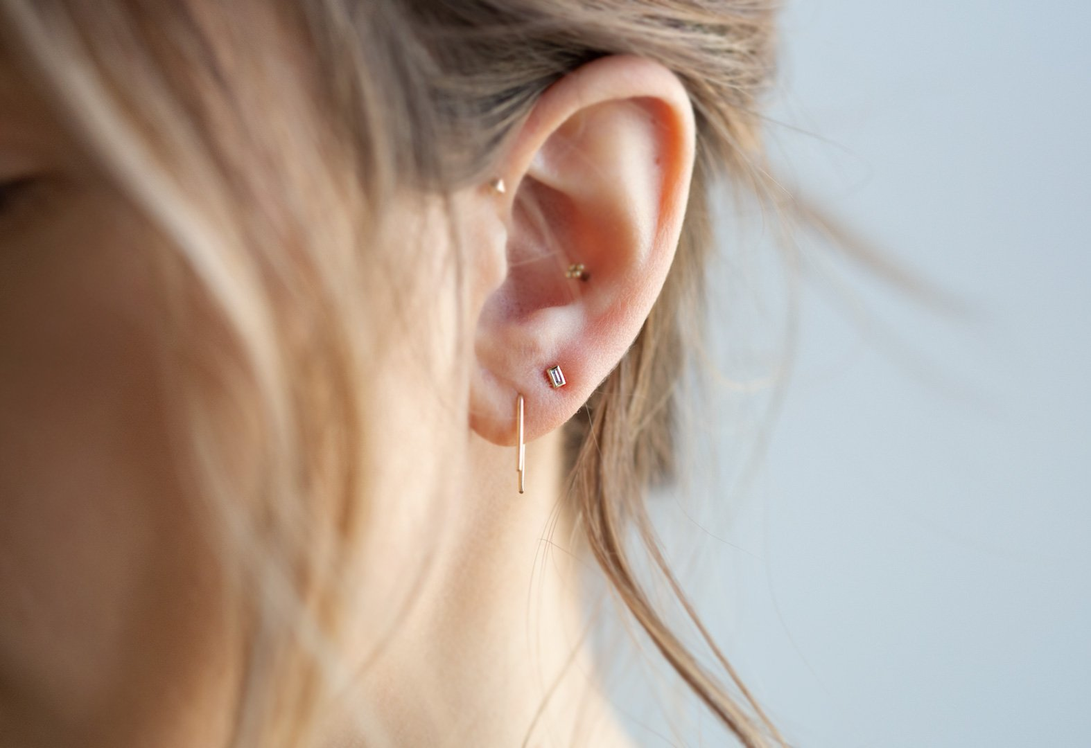 Staple Hoops and Baugette Earring AR Stack