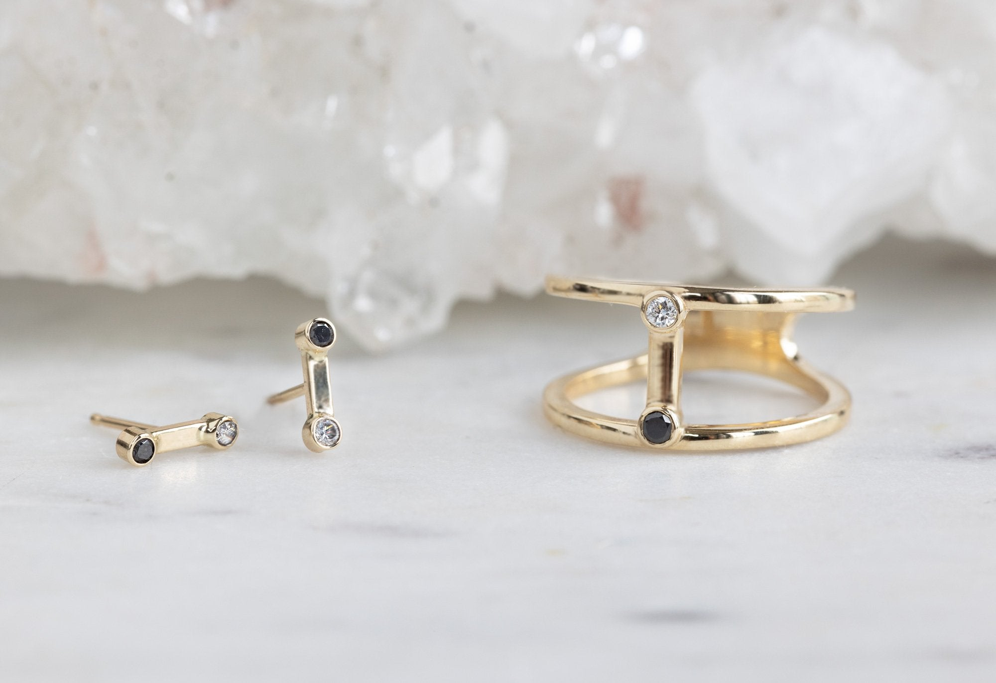 Duality Collection Studs and Cage Ring