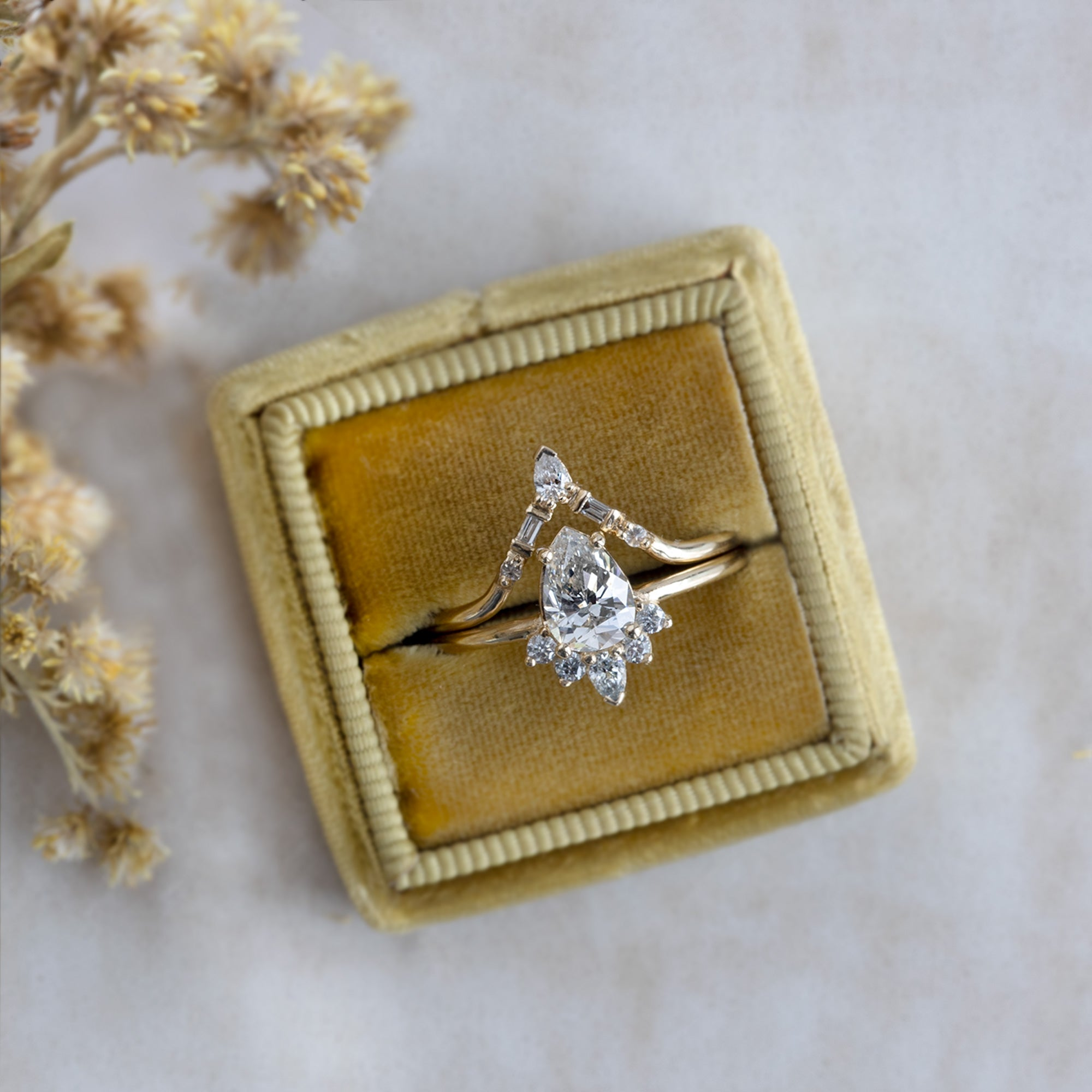 The Aster Ring With The Tiara Stacking Band