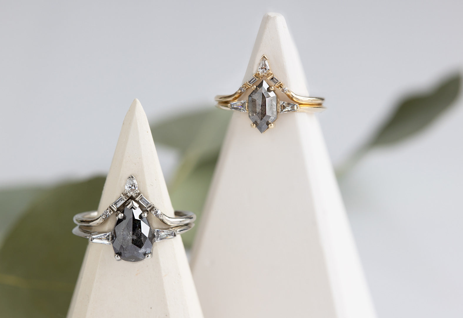 The Ash Ring Stacked With Our Tiara Stacking Band