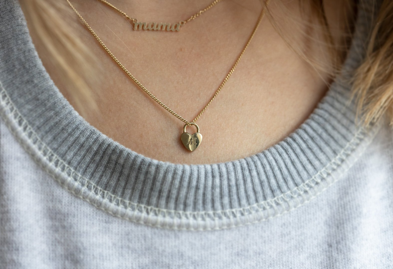 Personalized Heart Lock Necklace Layered With Our Mama Necklace