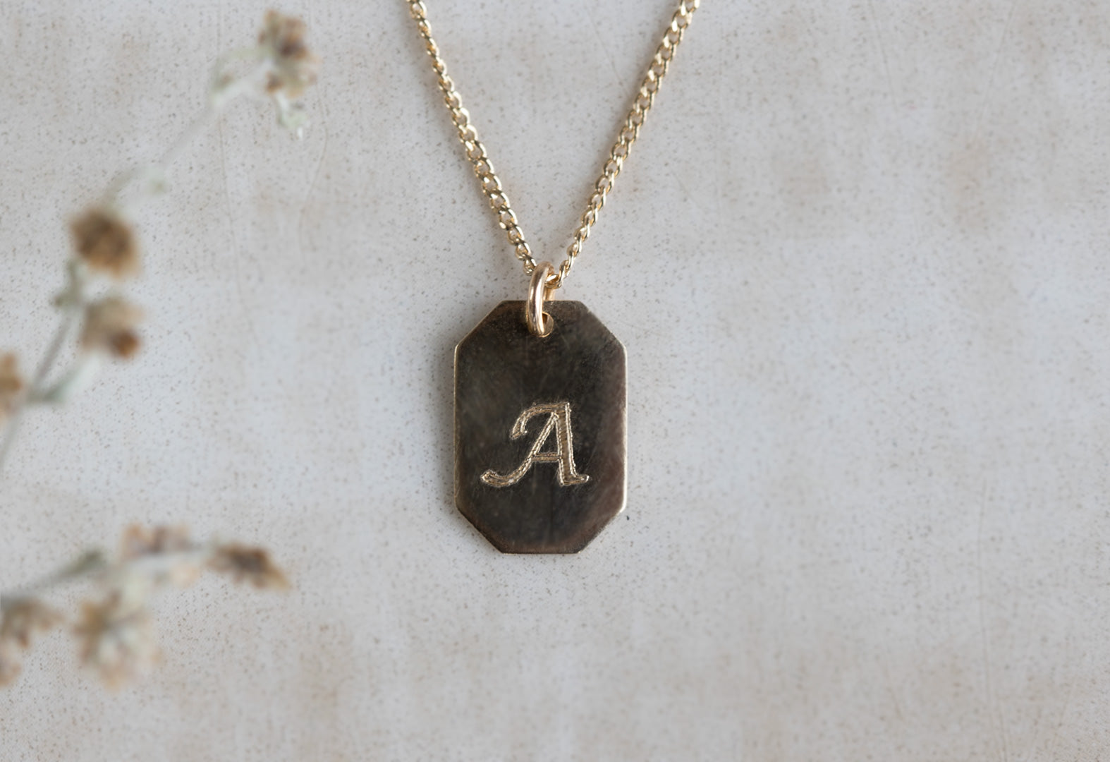 Featuring The Personalized 14k Gold Dog Tag Necklace