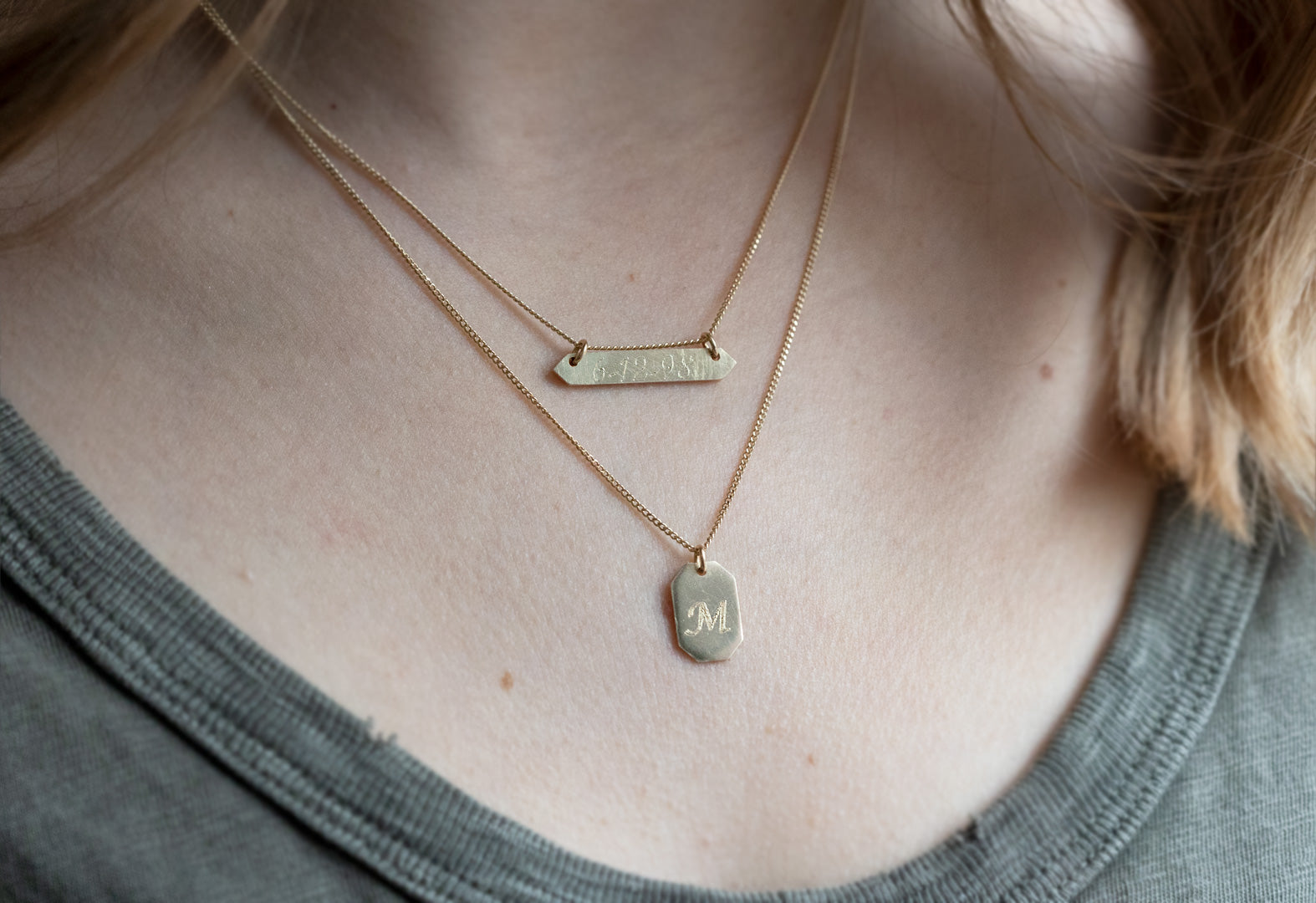 Personalized Bar Necklace on Model