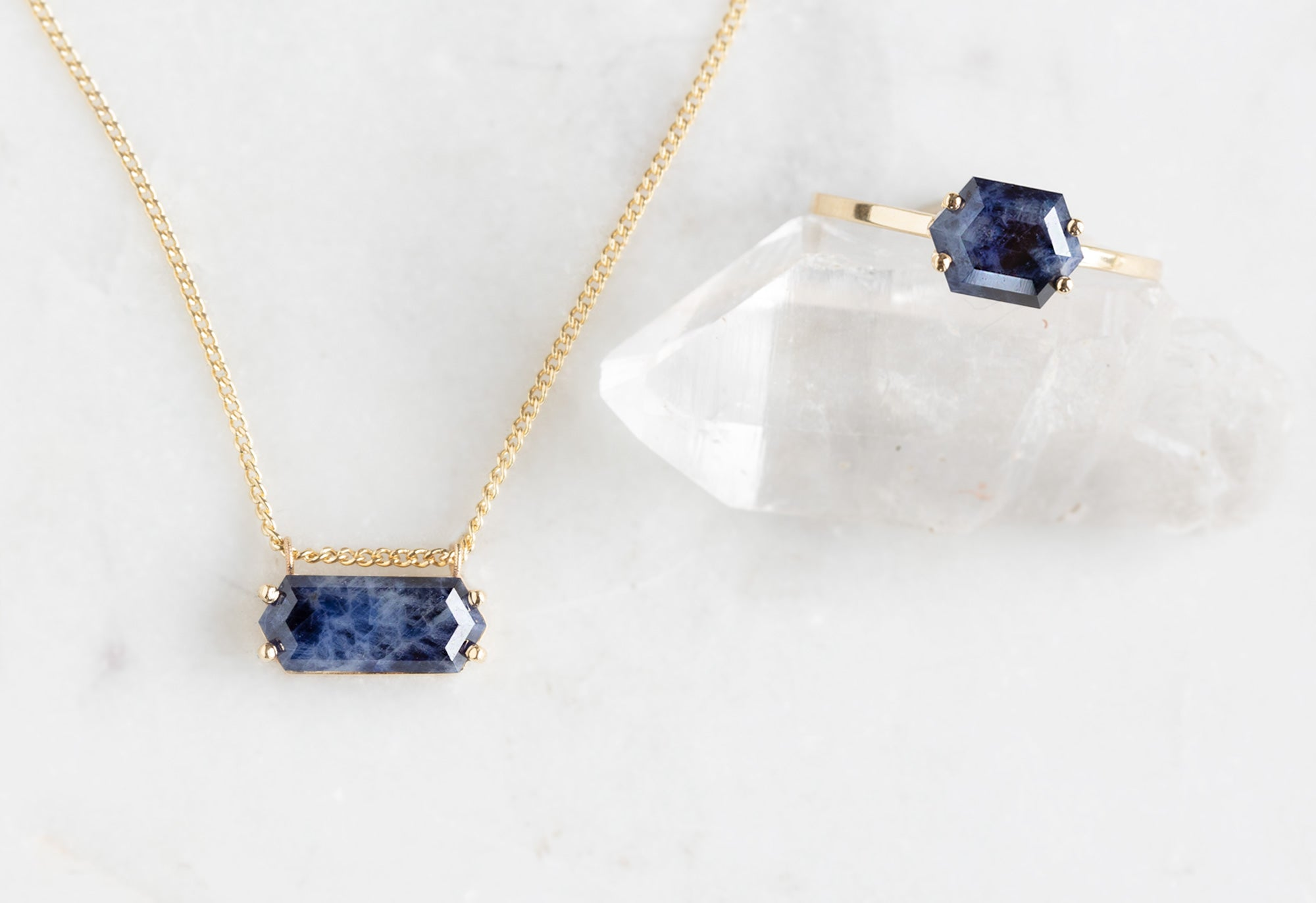 Raw Montana Sapphire Hexagon Ring and Necklace