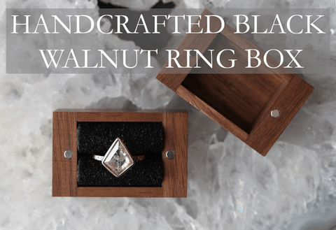 add a handcrafted wooden box for your ring