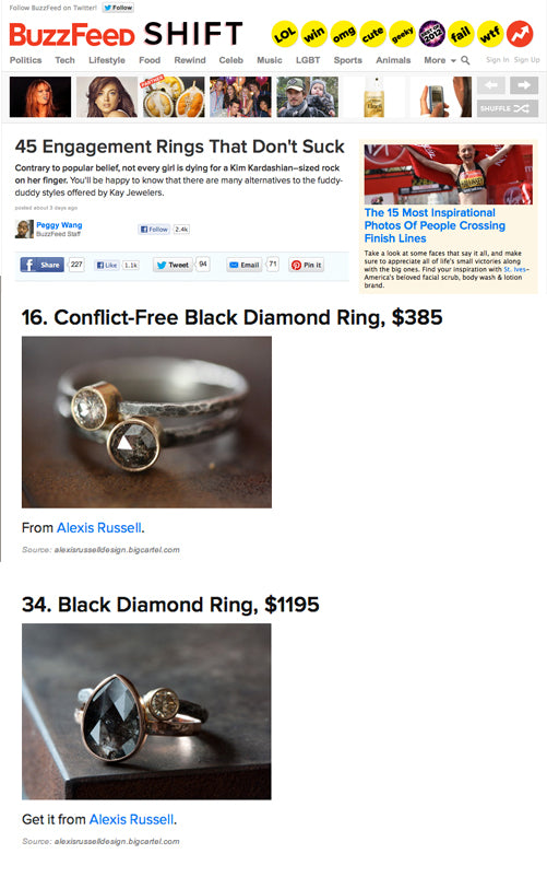 Alexis Russell jewelry being featured on Buzzfeed.