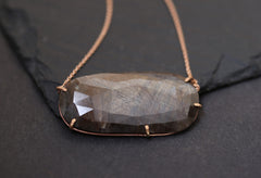 Natural Rose Cut Brown Sapphire Necklace- rose gold