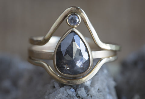 One of a Kind Natural Rose Cut Charcoal Grey Diamond Ring