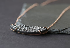 Custom Natural Black Druzy Quartz Necklace