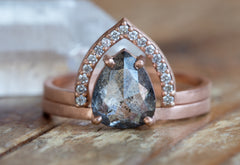 One of a Kind Salt + Pepper Diamond Ring + Peak Pavé Band Set