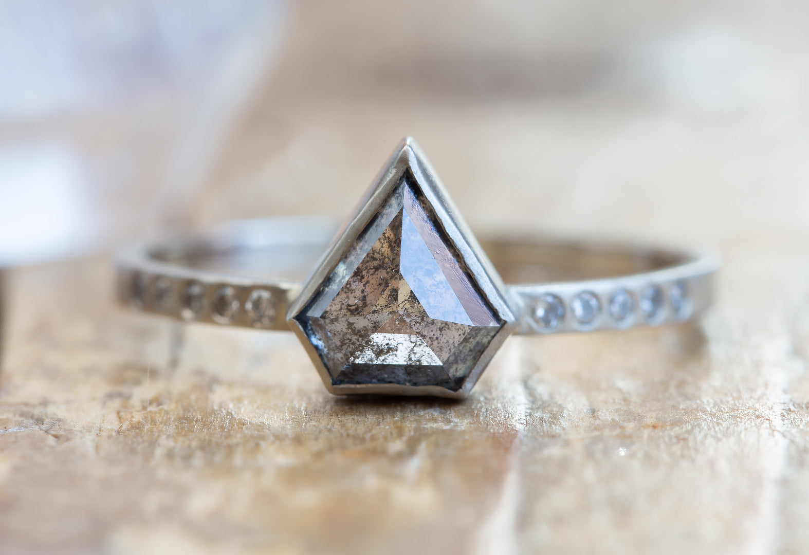 Natural Salt + Pepper Shield-Cut Diamond Ring with Pavé Band