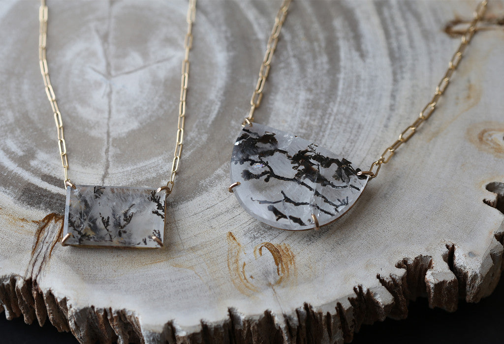 Custom Natural Dendritic Quartz Necklace