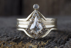 Geometric White Diamond Ring with Pavé Halo