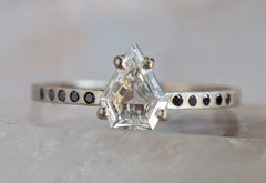 One of a Kind Black + White Shield-Cut Diamond Ring
