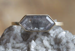 One of a Kind Natural Grey Hexagon Diamond Ring