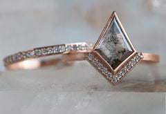 One of a Kind Geometric Salt + Pepper Diamond Engagement Ring with Half Halo