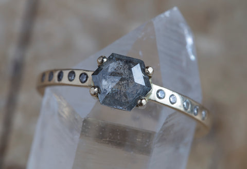 One of a Kind Grey Rose Cut Hexagon Diamond Ring with Pavé Band