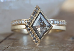 One of a Kind Salt + Pepper Geometric Diamond Ring with Half Halo