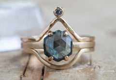 One of a Kind Rose-Cut Blue Sapphire Hexagon Ring